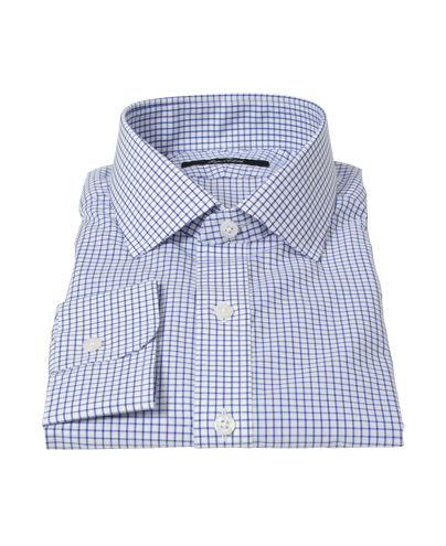 Blue Grid Fitted Dress Shirt