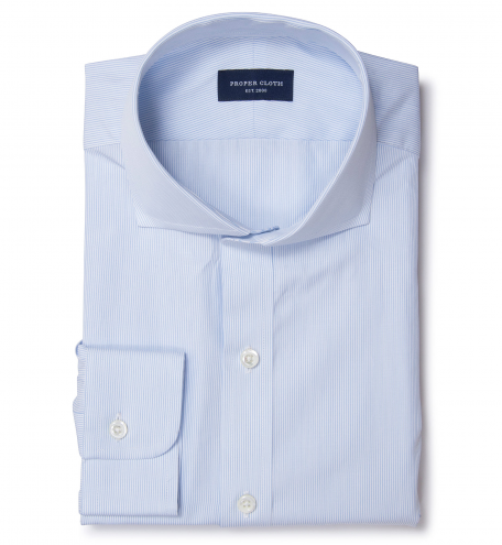 Blue Red Peached Tattersall Fitted Dress Shirt