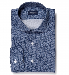 Blue Paisley Print Men's Dress Shirt