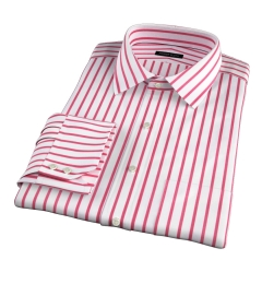 Canclini Red Wide Stripe Fitted Dress Shirt