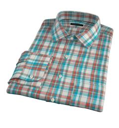Dorado Aqua Plaid Fitted Dress Shirt