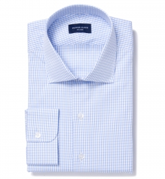Light Blue 80s Grid Pinpoint Fitted Shirt
