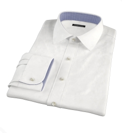 White Wrinkle-Resistant Rich Herringbone Custom Dress Shirt