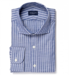 Albini Marine Stripe Oxford Chambray Men's Dress Shirt