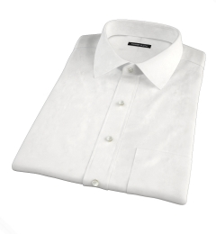 White Cotton Linen Oxford Short Sleeve Shirt