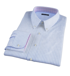 Light Blue Cotton Linen Stripe Custom Dress Shirt