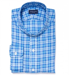 Canclini Aqua and Blue Plaid Linen Custom Made Shirt