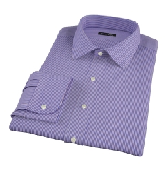 Canclini Blue and Red Stripe Fitted Dress Shirt
