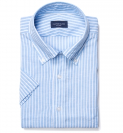 Light Blue Cotton Linen Stripe Custom Dress Shirt
