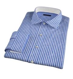 Blue Cotton Linen Stripe Tailor Made Shirt