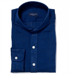 Canclini Marine Blue Linen Fitted Shirt