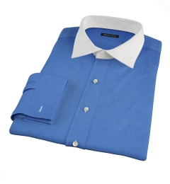 Dark Blue Broadcloth Fitted Dress Shirt