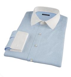 Canclini 120s Light Blue Mini Gingham Dress Shirt