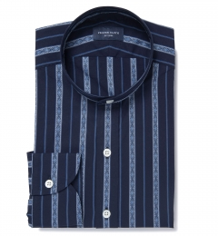 Albini Navy Folk Stripe Custom Dress Shirt