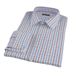 Thomas Mason Brown Gingham Fitted Dress Shirt