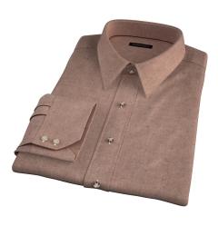 Canclini Camel Mini Herringbone Flannel Fitted Shirt