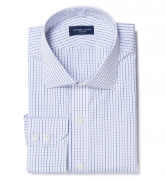 Thomas Mason Blue Grid Fitted Dress Shirt