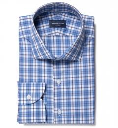 Siena Ocean Blue Multi Check Men's Dress Shirt