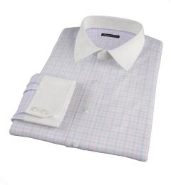 Thomas Mason Pink Multi Check Fitted Dress Shirt