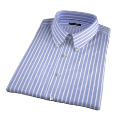 Blue 120s End-on-End Stripe Short Sleeve Shirt