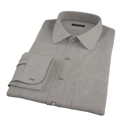 Charcoal Heavy Oxford Cloth Fitted Dress Shirt
