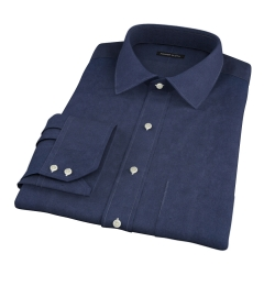 Navy Cotton Linen Oxford Fitted Shirt