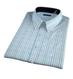 Adams Green Multi Check Short Sleeve Shirt