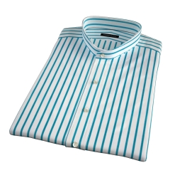 Canclini Teal Wide Stripe Short Sleeve Shirt