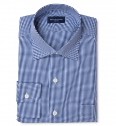 Carmine Navy Mini Check Custom Made Shirt