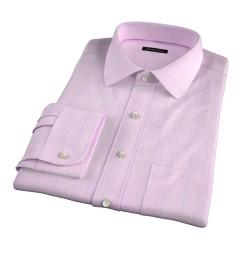 Carmine Pink Blue Prince of Wales Check Men's Dress Shirt