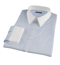 Thomas Mason Light Blue Mini Houndstooth Men's Dress Shirt