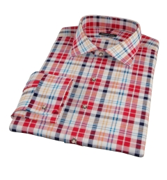 Red Orange Blue Madras Custom Dress Shirt