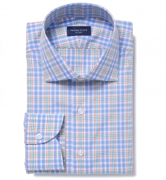 Amalfi Light Blue and Red Multi Check Men's Dress Shirt