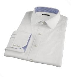 Albini Luxury White Lattice Grid Fitted Shirt
