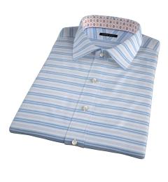 Albini Aqua Blue Horizon Stripe Short Sleeve Shirt