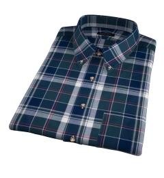 Wythe Green and Navy Plaid Short Sleeve Shirt