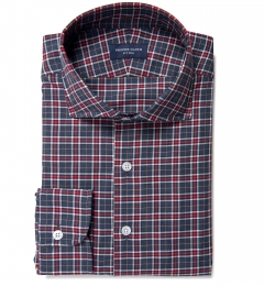 Sullivan Red and Grey Melange Check Tailor Made Shirt
