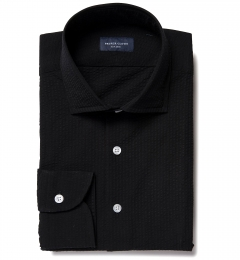 Portuguese Black Seersucker Fitted Shirt
