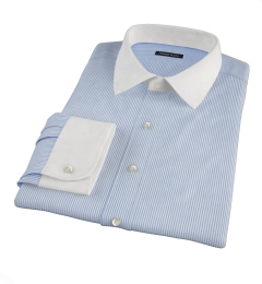 140s Blue Wrinkle-Resistant Stripe Custom Dress Shirt
