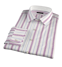 Albini Red Folk Stripe Men's Dress Shirt