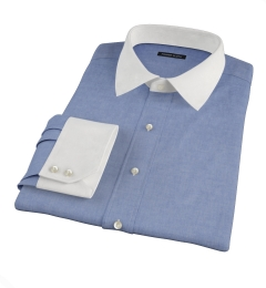 Albini Slate Blue Oxford Chambray Tailor Made Shirt