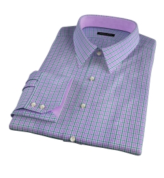 Rye 120s Lavender and Green Multi Check Custom Dress Shirt