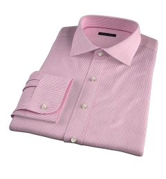 Thomas Mason Red Small Grid Fitted Dress Shirt