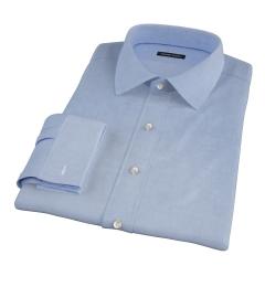 Thomas Mason Blue Mini Houndstooth Fitted Shirt