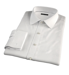 Navy on White Printed Pindot Fitted Shirt