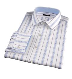 Albini Blue Folk Stripe Fitted Dress Shirt