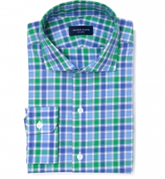 Green Large Multi Check Men's Dress Shirt