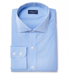 Light Blue Carmine Mini Check Men's Dress Shirt