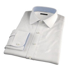 Navy on White Printed Pindot Men's Dress Shirt