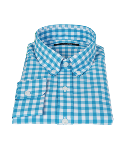 Aqua Large Gingham Tailor Made Shirt